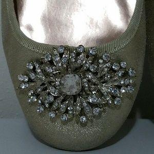 Badgley Mischka Shoes - BADGLEY MISCHKA Gold Embellished Flats Size 6